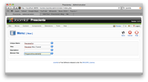 Screencap, Joomla, Create a new menu