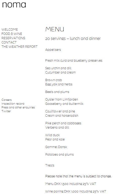 Noma's menu